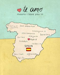 Large Spanish Country Map Children Room Decor Wall by LisaBarbero, $39.00
