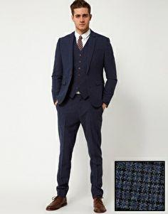ASOS – Eng geschnittener Anzug in blauem Hahnentrittmuster
