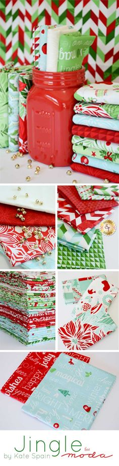 Jingle by Kate Spain for Moda Fabrics is a new holiday collection available at Shabby Fabrics in pre-cuts and yardage