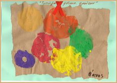Automn Fruit stamps-kid' s-art, Ανθομέλι: Ζωγραφίζοντας φθινοπωρινά φρούτα