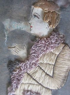 Antique-Painting-Silk-Embroidered-Textile-Lady-or-Man-Smoking-Framed-Needle-Work