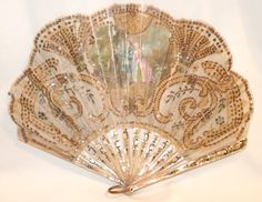 ANTIQUE MOTHER OF PEARL HAND PAINTED SILK SEQUINS FRENCH FAN