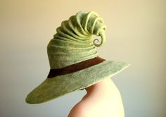 Wide Brim Wizard Hat Green with Brown Leather Band by HandiCraftKate