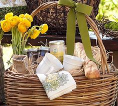 Pretty Easter basket a la Pottery Barn. Don't forget the blown-out eggs! And straw. Hello, we have that here.