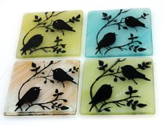 Fused Glass Coasters  set of 4 bird Silhouette by virtulyglass, $32.50
