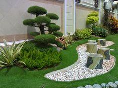petit jardin moderne végétation taillée