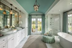 "New HGTV 2015 Dream House with Designer Sources Stunning tile work, soft fabrics and a calming color palette blend perfectly to form an inviting space designed for relaxation.  Lighting is from ""Ethan Allen""."