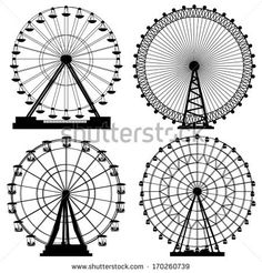 Set of vector silhouettes Ferris Wheel from amusement parks - stock vector