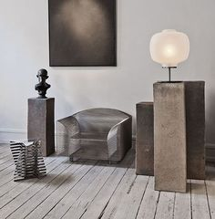 Interior design by Studio Oliver Gustav, Copenhagen, Denmark with How High the Moon-steel wire chair by Shiro Kuramata and a table lamp by Vincenzo De Cotiis / Oliver Gustav Studio Interior, Room Interior, Interior Styling, Interior Design, Luxury Interior, Pedestal, Vincenzo De Cotiis, Living Colors, Home And Deco