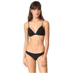 Zimmermann Separates Fixed Tri Bra ($145) ❤ liked on Polyvore featuring swimwear, bikinis, black, zimmermann swimwear, zimmermann, shiny swimwear, swim suit tops and shiny bikini
