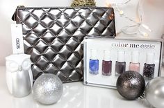 We are already on our 3rd day of giveaways and it just keeps getting more exciting! Today's gifts consist of the beautiful holiday gift set from Essie along with this fun metallic quilted clutch from Asos. #12DaysofGlamLatte