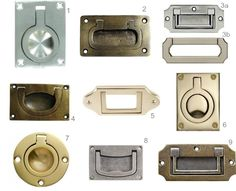 Recessed Cabinet Hardware Round Up with Numbers - love this recessed look on kitchen drawers & vanities! (we also have that top left one on our closet pocket doors...)
