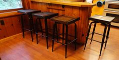 CUSTOM 4 industrial stools 30 inches tall made with old reclaimed barn wood