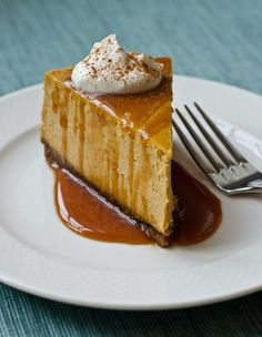 Pumpkin Cheesecake with Gingersnap Crust and Caramel Sauce - Once Upon a Chef