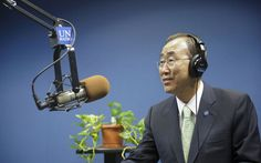 #UN officials spotlight power of #radio in changing the world.  Here is a photo of UN Secretary-General Ban Ki-moon at one of the studios at UN radio.