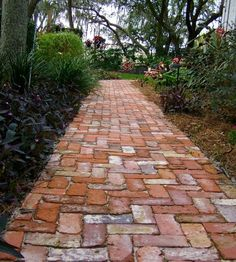 Image result for cross bond brick walkway edged with cobblestone
