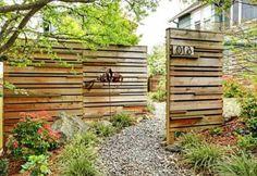 wooden garden fence in the garden