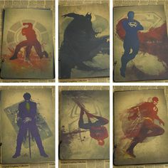 Retro Kraft Paper Poster Retro art Wall home Decoration Catwoman / wonder woman / flash / Superman / spider man 30*21cm