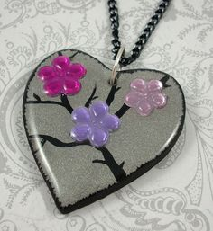 Pink and Purple Flower Heart Pendant Necklace by pzcreations22, $19.50