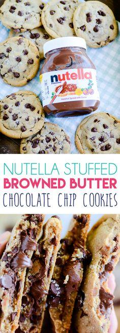 Nutella Stuffed Browned Butter Chocolate Chip Cookies https://www.somethingswanky.com/nutella-stuffed-browned-butter-chocolate-chip-cookies/?utm_campaign=coschedule&utm_source=pinterest&utm_medium=Something%20Swanky&utm_content=Nutella%20Stuffed%20Browned%20Butter%20Chocolate%20Chip%20Cookies