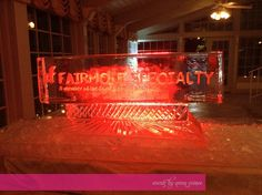 Custom ice carving with the company logo
