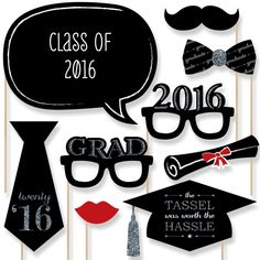 Amazon.com: Graduation Party - Silver - Photo Booth Props Kit - 20 Count: Toys & Games
