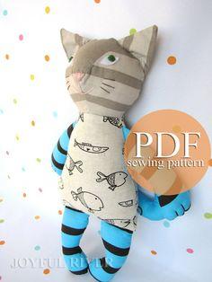 Stuffed toy cat pdf sewing pattern  DIY tutorial by Joyful River, $7.00