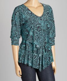 This Black & Teal Floral V-Neck Tiered Top - Plus is perfect! #zulilyfinds