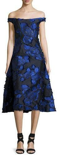 Lela Rose Off-the-Shoulder Floral Brocade Dress with Flounce Back