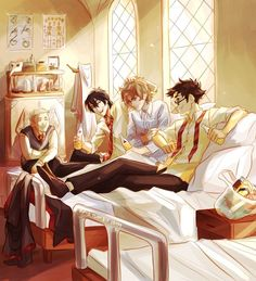 The Marauders visiting Remus at the hospital wing after the full moon