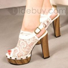 White Hollow Out Peep-toe Chunky Heels