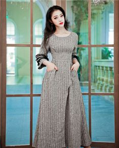 9400dc4de386 QoerliN Vintage Long Evening Party Dresses Women Elegant Maxi Vestidos  Mujer Canonicals Gray High Waist Plus Size Dresses Femme -in Dresses from  Women's ...