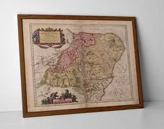 Aberdeenshire Old Map, originally created by Willem Janszoon Blaeu, now available as a 'museum quality' Gift print.  #elgin #gift #lossiemouth #findhorn #inverness #aberdeenshire #nairn #moray #morayshire #aberdeen #banff #inverness #inverurie #aberdeen #dornoch #peterhead #deeside #aviemore