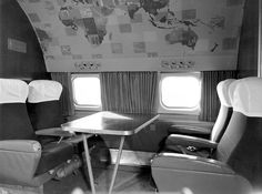 Qantas Airways Super Constellation interior, 1950s.