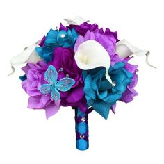 "8"" Bouquet - Turquoise and Shades of Purple with Butterfly Accents - Artificial Flowers"
