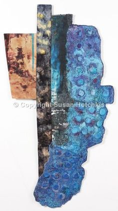 Azure - mixed media fabric paper machine and hand stitch