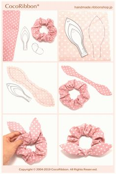 , This tutorial will teach you making a scrunchie, and DIY scrunchie in 2 sizes. These fabric-covere, Easy Sewing Projects, Sewing Hacks, Sewing Tutorials, Sewing Crafts, Sewing Patterns, Diy Crafts, Diy Hair Scrunchies, Diy Hair Bows, How To Make Scrunchies