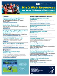 Click here for a variety of K-12 web resources for your science classroom!