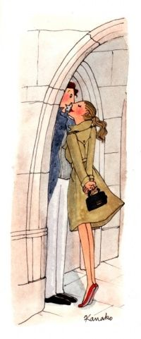 "Kissing in Paris - reminds of those illustrations in those ""monster"" children's books"