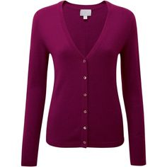 Pure Collection Josie V Neck Cashmere Cardigan, Rich Berry ($135) ❤ liked on Polyvore featuring tops, cardigans, long sleeve v neck cardigan, pure collection, cashmere tops, short-sleeve cardigan and long sleeve v neck top