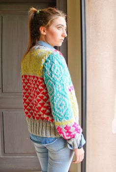 INGRID hand knit cardigan fair isle high fashion by ovejanegra