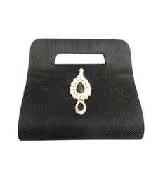 Buy Jute Hand Held Clutch with Kundan Brooch (Black) clutch online