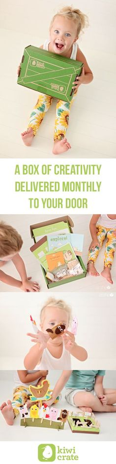 A box of creativity and learning projects delivered right to your door. Themed boxes for different age ranges. Get $10 off by using this pin!