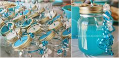Teal & Gray Chevron Baby Shower - Decor, Drinks, 1/2 Blue Hawaiian Punch 1/2 Lemonaid, Mason Jar Cups