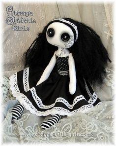 OOAK, Gothic, vegan, cloth art doll with button eyes - Alba Mae Ugly Dolls, Creepy Dolls, Cute Dolls, Zombie Dolls, Voodoo Dolls, Halloween, Gothic Dolls, Cute Stuffed Animals, Creepy Cute