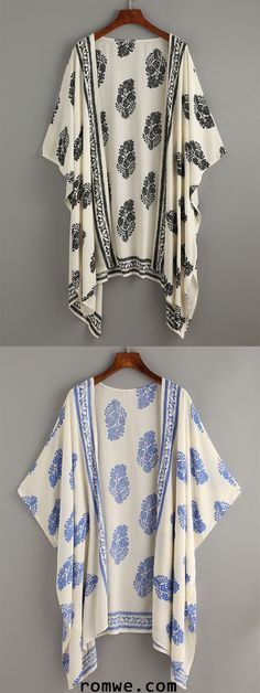 Vintage Pattern Print Kimono