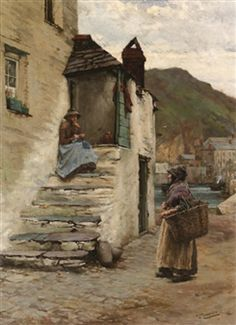 At Polperro, Cornwall By Walter Langley