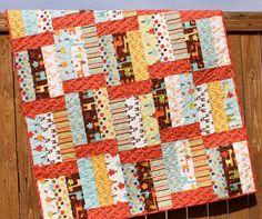 Giraffe Crossing Brown Baby Boy Quilt Brown Red Yellow Aqua Cream Handmade Crib Blanket on Etsy, $149.00