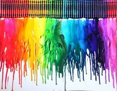 Melted color crayons