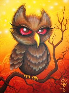 Air of Autumn by Natalie VonRaven  Acrylic on canvas 9x12  lowbrow owl painting